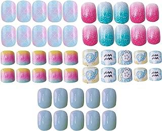 Laza 120pcs Children Nails Press On Pre-glue Full Cover Glitter Gradient Color Rainbow Sparkling Scale Wave AquariusShort False Nail Kits for Kids Teenager Girls - Little Mermaid