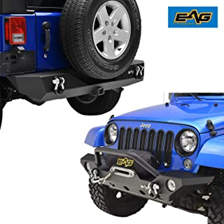 """EAG Fit for 07-18 Jeep JK Wrangler Front Bumper with Fog Light hole and Rear Bumper with 2"""" Hitch Receiver Combo"""