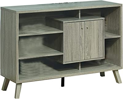 Benjara Wooden Frame Buffet with 5 Open Compartments and 2 Doors, Gray