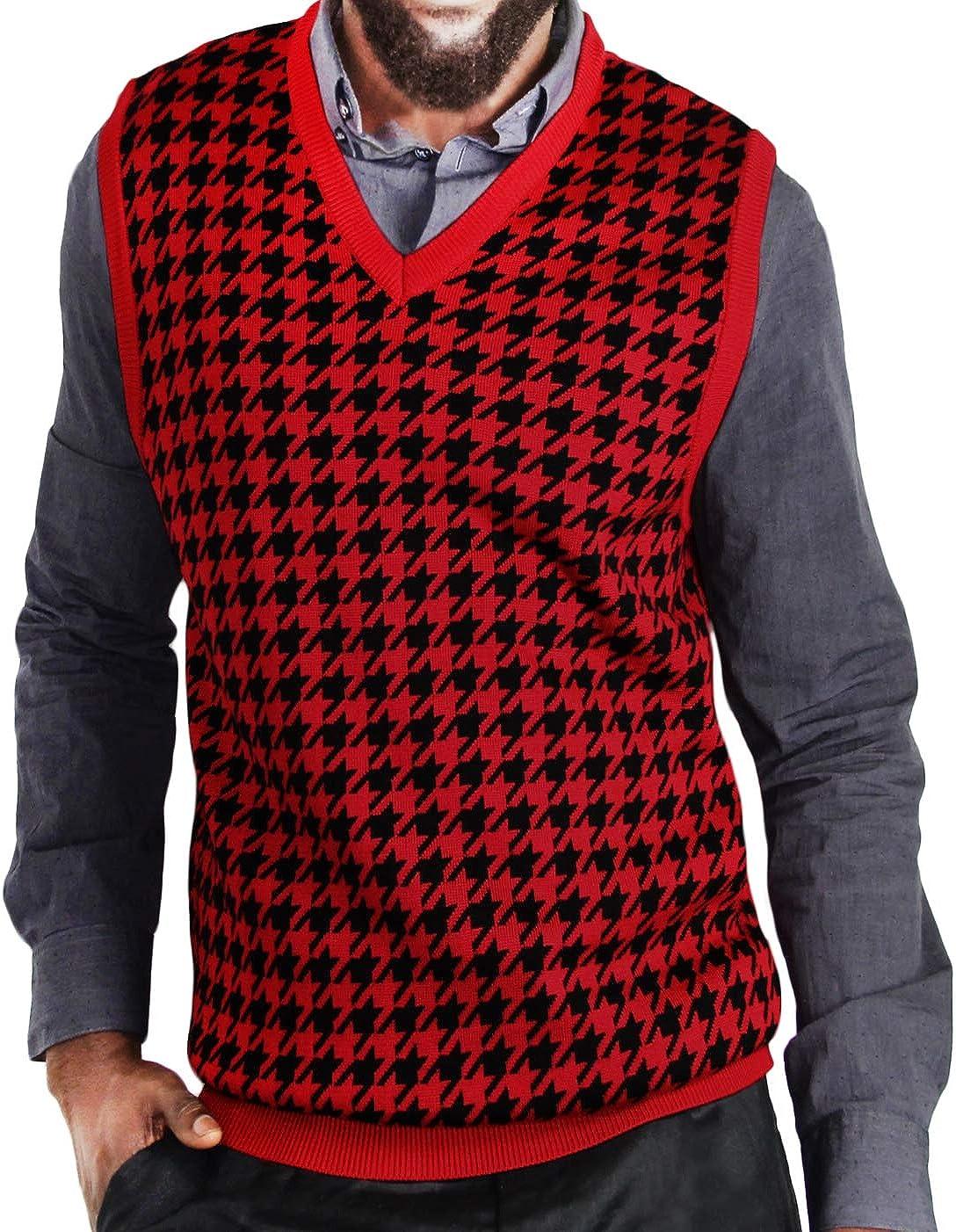 Blue Ocean Big Sale item Men Jacquard Sweater Vest shipfree Houndstooth