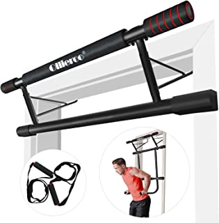 Ollieroo 4 in 1 Doorway Trainer– Raised Height Pull Up Bar, Dips Bar & Power Ropes for A Total Body Home Workout, Pull Up Bar Doorway Chin Up Strength Training Bars Multi-Grip Trainer Workout for Home