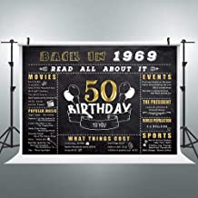 Riyidecor 50th Happy Birthday Gold and Black Backdrop Anniversary Decorations 7x5 Feet Golden Fifty Years Old Back in 1969 Photography Background Adult Party Celebration Props Photo Shoot Vinyl Cloth
