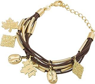 Amarjon BioJewel Yellow Gold-Plated 18k 10-Waxed Chain Bracelet With Pendants