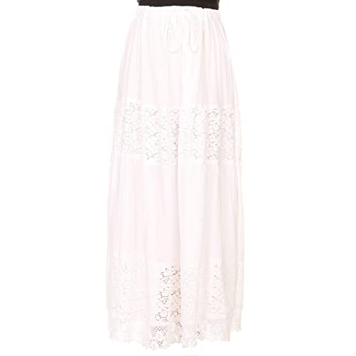 Sakkas Franchesca Boho Lace Skirt with Elastic Waistband