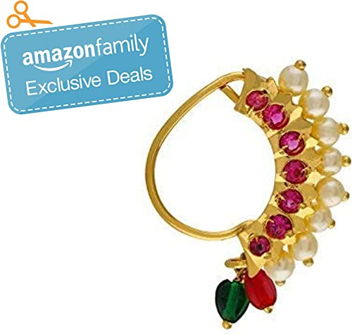 Vail Creations Traditional Maharashtrian Nath Multicolour Gold Plated Without Piercing Press or Clip on Type Nose Rin...