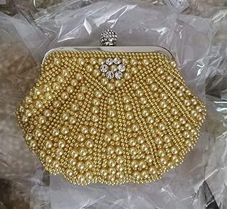 Redland Art Women's Fashion Mini Pearl Beaded Shell Clutch Bag Wristlet Shoulder Crossbody Evening Handbag Catching Purse for Wedding Party (Color : Khaki)