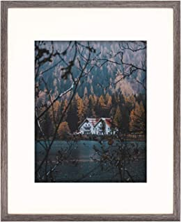 Frametory, Smooth Wood Grain Frame with Ivory Mat for Photo includes Sawtooth Hangers and Real Glass for Landscape/Portrait, Wall Display (Grey, 16x20 Frame for 11x14 Photo, 1-Pack)