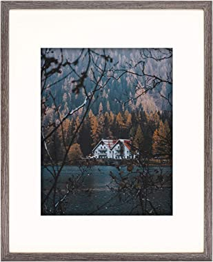 Frametory, Frame with Ivory Mat for Photo - Smooth Wood Grain Finish - Sawtooth Hangers, Real Glass - Landscape/Portrait, Wall Display (Grey, 16x20 Frame for 11x14 Photo, 1-Pack)