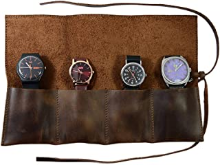 Hide & Drink Rustic Leather Travel Watch Roll Organizer Holds Up to 4 Watches Handmade Bourbon Brown