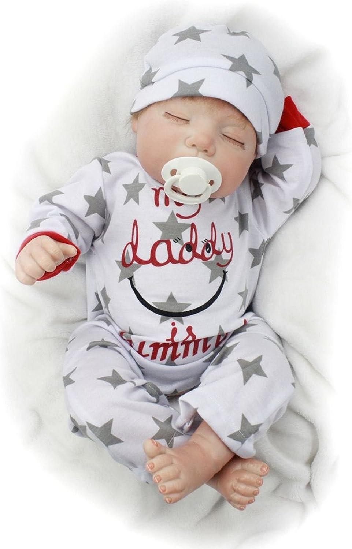 OYLS Sleeping Boy Lifelike Cute Soft Silicone Vinyl Magnetic Reborn Baby Dolls 22inch 55cm Handmade Fashion Toddler Toy