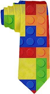 Handmade Ties for Men:Skinny Woven Slim Tie Mens Ties-Thik Necktie Colorful Building Blocks Bricks Tetris Neckties for Eve...