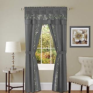 "Achim Home Furnishings Fairfield 5 Piece Window Curtain Set, 55"" x 63"", Grey"