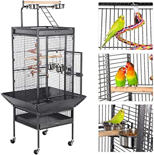 Yaheetech 61-inch Rolling Wrought Iron Large Parrot Bird Cage for Small Parrot Quaker Cockatiel Sun Parakeet Green Cheek Conure Dove Lovebird Play Top Bird Cage with Stand