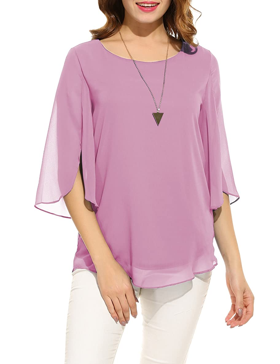Hount Women Casual Loose Pullover Chiffon Blouse 3/4 Sleeve Solid Chiffon Shirt