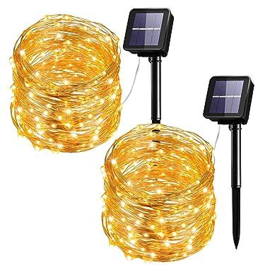 Cadena de luces solares Mpow de 100 luces LED para exteriores. Resistente al agua. Para decoración de patios, jardines, puertas, fiestas, bodas, en Navidad (luz blanca cálida), 2 unidades, Paquete de 2, Blanco Warm