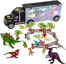 Tuko Dinosaur Car Toys Diecast Transport Carrier Truck Jurassic World Dino Toys Playset(Includes 12pcs Dino Toys, 2 Eggs Dinosaur, 4 Trees, 2 Enclosure, 1 Carrier car Toy)(Black)