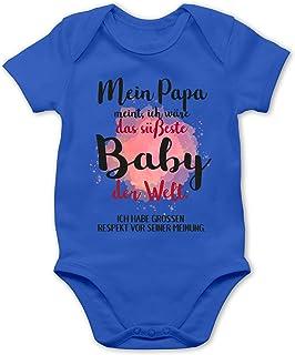 Shirtracer Strampler Motive - Mein Papa Meint, ich wäre das süßeste Baby der Welt. - Baby Body Kurzarm für Jungen und Mädchen