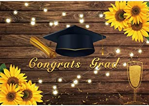 Allenjoy 7x5ft Congrats Grad Class of 2019 Graduation Party Backdrop Rustic Wood Sunflowers Photography Background Congrats Graduation 2019 Prom Party Decors Cake Table Banner Photo Studio Booth Props