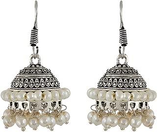 Efulgenz Boho Vintage Ethnic Gypsy Tribal Indian Oxidized Silver Dangle Jhumka Earrings Jewelry