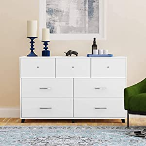 Cozy Castle 7 Drawer Dresser, Chest of Drawers, Horizontal Dresser, White Dresser, Bedroom Dresser with 3 Small Drawers and 4 Large Drawers, for Clothing Storage, Wide Dresser White