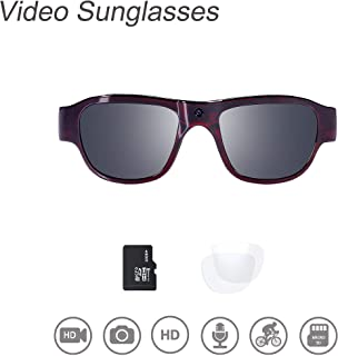 Video Sunglasses, 32GB 1080P HD Outdoor Sports Action Camera with Built in 15MP Camera and Polarized UV400 Lens, Compatible with Interchangeable Lens