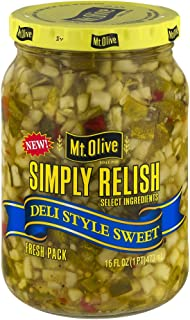 Mt. Olive Simply Relish Deli Style Sweet, 16 FL OZ Jars (Pack of 3, Total of 48 Oz)