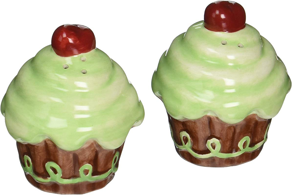 Appletree Design Life Is Sweet Green Cupcake Salt And Pepper Set 2 1 2 Inch