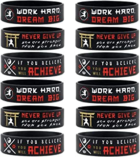 (12-Pack) Martial Arts Wristbands with Motivational Quotes - Wholesale Bulk Karate Ninja Theme Party Favors, Supplies and ...