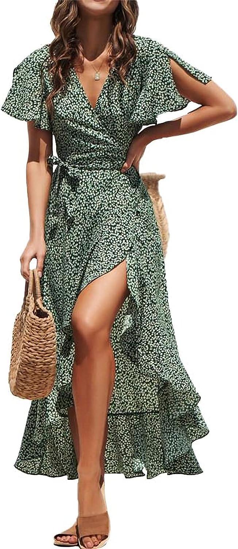 GDGZJJD Women's Casual Printed Cross V-Neck Wrap Dress Lotus Leaf Split Sleeve Lotus Leaf Hem Dress