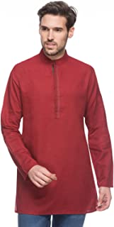 Shatranj Men's Indian Mid-Length Kurta Tunic Banded Collar Textured Shirt