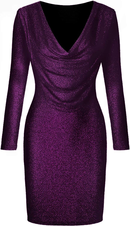 Kaideny Women's Sexy V Neck Long Sleeve Sequins Dress Casual Short Mini Dress Bodycon Nightclub Party Dress