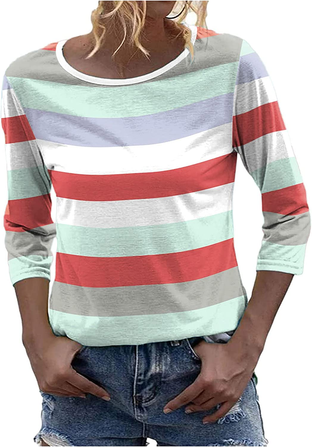 Women's 3/4 Sleeve Tunics Tops Slim Fit Round Neck T-Shirts Solid Color Stripe Priting Blouses for Teen Girls