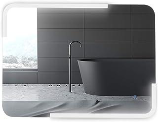 kleankin Espejo de Baño con Luz, Espejo de Pared con Iluminación LED de Bajo Consumo Espejo con Botón Sensible al Tacto Im...