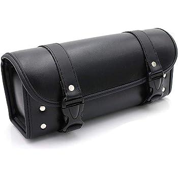 Krtopo Mini sacoche de guidon de moto Sacoche de selle PU Outil Rouleau Side Bagages Voyage Outil Sac de queue avec 2 sangles de montage Noir
