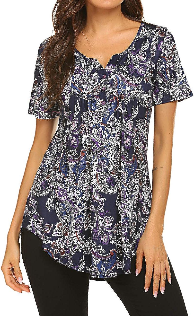 Women's Floral Printed Short Sleeve V Colorado Springs Overseas parallel import regular item Mall Neck T-Shirt Henley Pleate