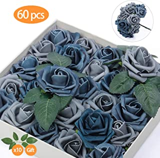 TOPHOUSE 60pcs Artificial Flowers Roses Real Touch Fake Roses for DIY Wedding Bouquets Bridal Shower Party Home Decorations (Dusty Blue Shades)