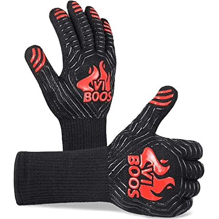 BBQ Gloves, 1472℉ Extreme Heat Resistant Grilling Gloves for Cooking, Baking and for Smoker, Silicone Insulated Cooking Oven Mitts, 13 Inch Long Non-Slip Potholder Gloves,1 Pair (Black & Red)