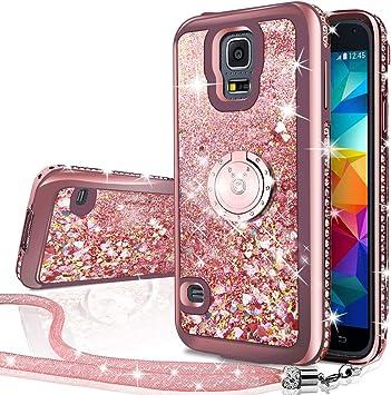 Miss Arts Coque Galaxy S5 [Silverback] Fille Silicone Paillette Strass Brillante Bling Glitter de Luxe avec Support,Liquide Gel Bumper Housse Etui de ...