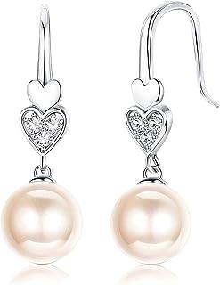 Sllaiss 925 Sterling Silver Austria Pearl Drop Earrings for Women, Cubic Zirconia Heart Dangle Earrings, Fine Jewelry for ...