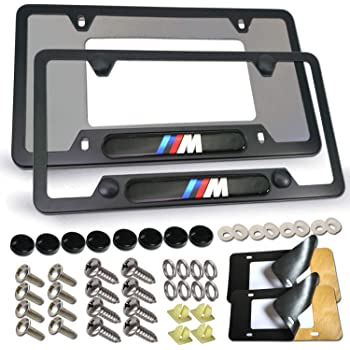 Auteal Car Stainless Steel Metal M Powered Motorsport License Plate Tag Frame Cover Holders w//Caps Screws for BM 2 Silver