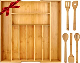 KINFAYV Bamboo Kitchen Drawer Organizer - Expandable Silverware Utensil Drawer Organizer with Grooved Drawer Dividers for Flatware, Adjustable to 9 Compartments, Include 5 PCS Premium Kitchen Utensils