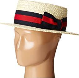 Straw Boater with Two-Tone Stripe Grosgrain Ribbon