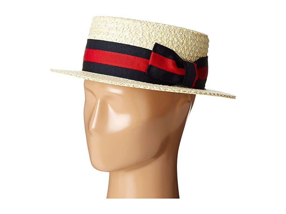 Men's Vintage Style Hats SCALA Straw Boater with Two-Tone Stripe Grosgrain Ribbon Bleach Caps $62.00 AT vintagedancer.com