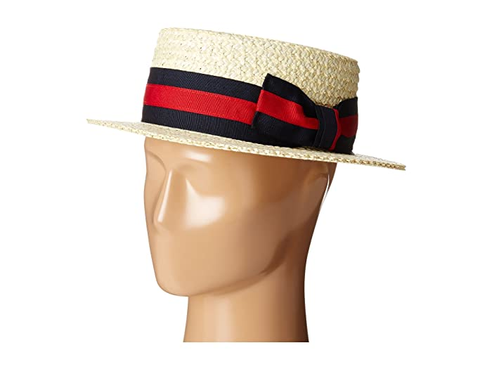 1950s Men's Hats Styles Guide SCALA Straw Boater with Two-Tone Stripe Grosgrain Ribbon Bleach Caps $47.86 AT vintagedancer.com