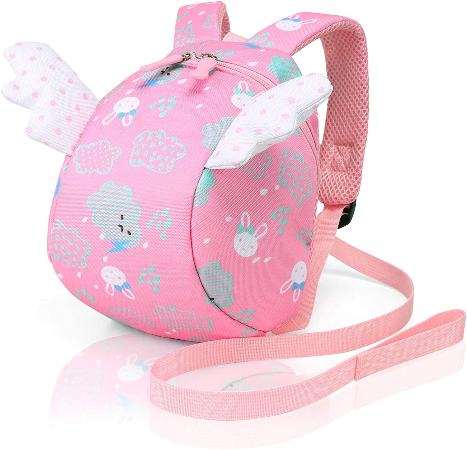 Cosyres Toddler Backpack with Leash,Kids Mini Safety Preschool Backpack for Girls Bunny Pink