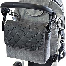 Gray LenCuero Len Negro GrisGrande Bolso Cambiador Pañales Bolso Parasilla de paseo organizador Bolsa para pañales patrón blanco