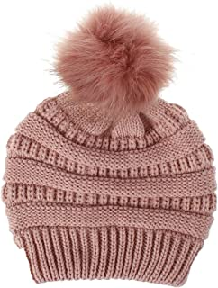 Malltop Winter Warmer Keep Warm Wool Hairball Knitted Plush Hemming Hat Casual Solid Color Caps for Ladies Girls