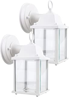 LIT-PaTH Small Outdoor LED Wall Lantern, Wall Sconce as Porch Light, 9.5W (75W Equivalent), 800 Lumen, Aluminum Housing Plus Glass, Matte White Finish, ETL and ES Qualified, 2-Pack