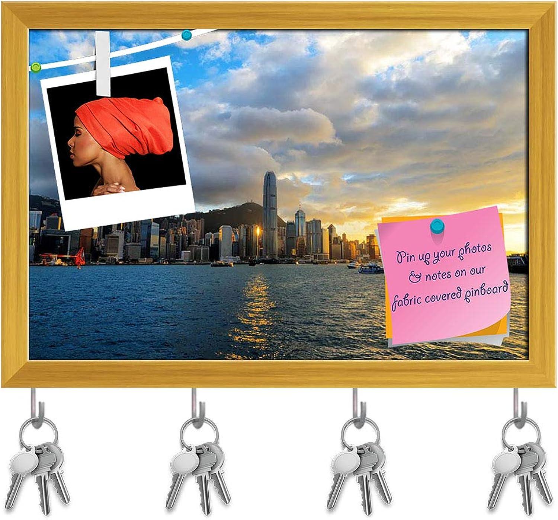 Artzfolio Skyline of Hong Kong D2 Key Holder Hooks   Notice Pin Board   golden Frame 17.6 X 12Inch