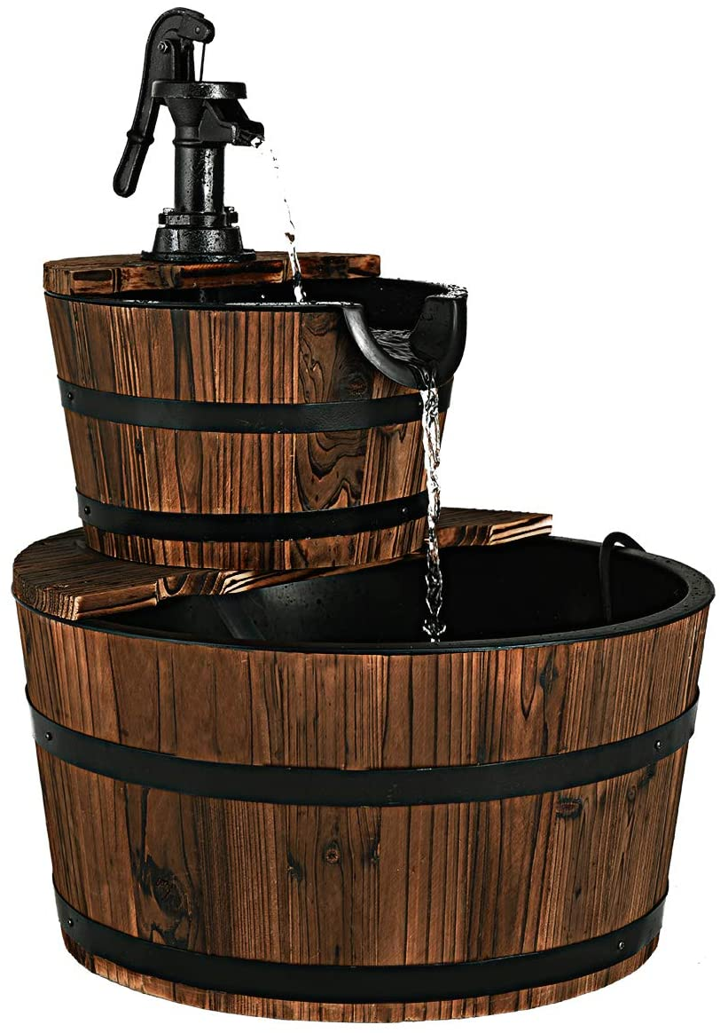 Giantex 2-Tier Barrel Waterfall Fountain Our shop most 5 popular popular Pump with Hand Rustic